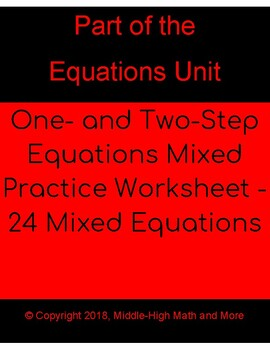 One- and Two-Step Equations Mixed Practice Worksheet