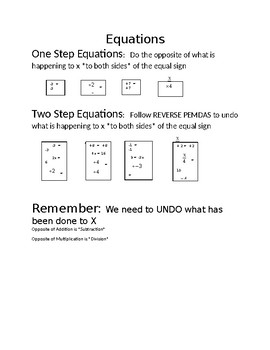 One and Two Step Equations One Pager