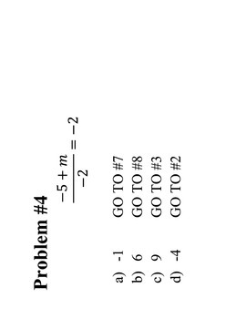 One and Two Step Equations Problem Trail