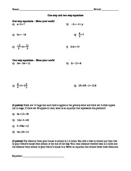 One and Two Step Equations Quiz