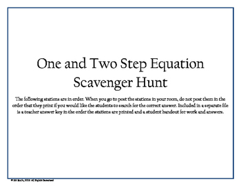One and Two Step Equations Scavenger Hunt