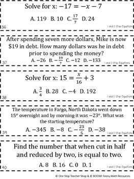 7th Grade One and Two Step Equations Game