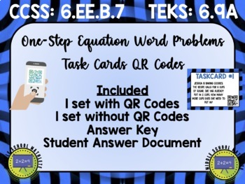 One and Two Step Equations Task Cards QR Codes Bundle