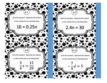 One and Two-Step Equations and Inequalities TASK CARDS