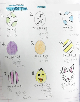 One and Two Step Inequalities Easter Egg Coloring Activity