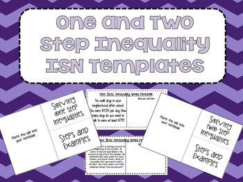 One and Two Step Inequalities ISN Template