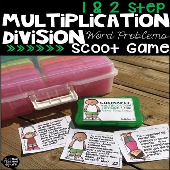 One and Two Step Multiplication Division Word Problems Crossfit Scoot Game