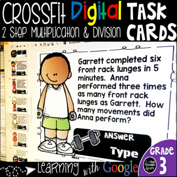 One and Two Step Multiplication Division Word Problems Digital Task Cards
