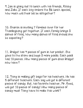 One and Two Step Multiplication Word Problems