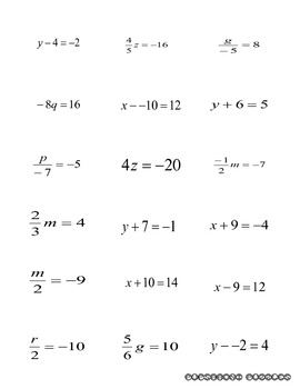 One and Two Step Simple Equations Flashcards - PP