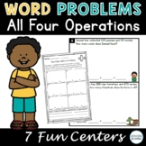 One and Two Step Word Problem Centers, Third Grade Math Centers