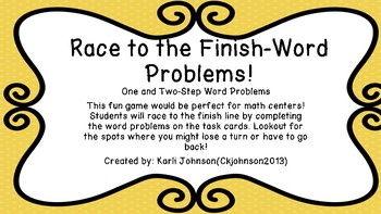One and Two-Step Word Problems Board Game
