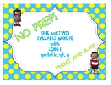 One and Two Syllable Words with Long I spelled ie, igh, y