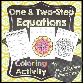 One and Two-step Equations Coloring Worksheet {1 and 2 Step Equations Activity}