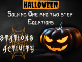 One and two & multi-step equations halloween stations activity