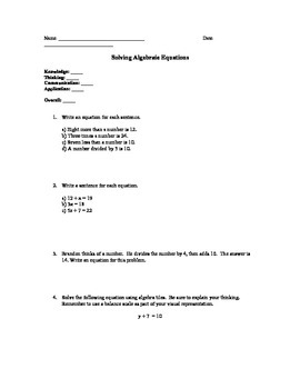 One and two-step Algebra Equations Test