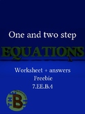 One and two step equations worksheet 7th 8th freebie
