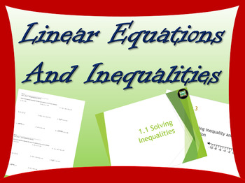 One day lesson on linear equations and inequalities includ