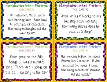 One digit Multiplication Task Cards Word Problems
