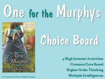 One for the Murphys Choice Board Menu Novel Study Activiti