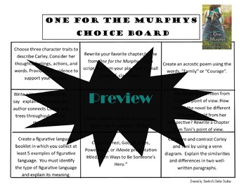 One for the Murphys Choice Board Menu Novel Study Activities Menu Book Project