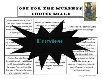 One for the Murphys Choice Board Menu Novel Study Activities Menu Book Project