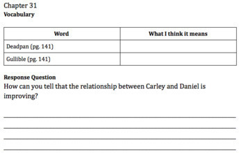 One for the Murphys Comprehension Questions and Vocabulary Guide