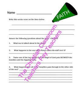 One in Christ Beginnings Aligned Resource for Exodus Quiz or Worksheet