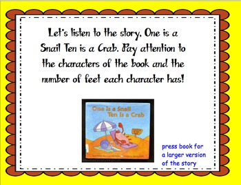 One is a Snail Ten is a Crab- Math Activity and Smart Boar