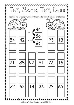 One more one less ten more ten less - Worksheets and ...