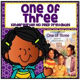 One of Three Kindergarten NO PREP Supplemental Reading Printables