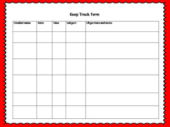 One on one track form for teachers (observation and recording sheet)