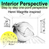 One-point perspective room and Magritte like setting Think