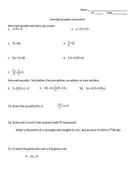 One-step Equation Assessment