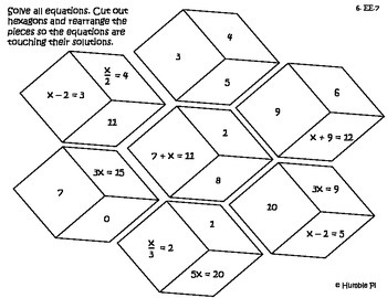 One-step Equation Hexagon Puzzle- 6.EE.7