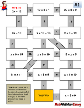 One-step Equations Fun Worksheets/Mazes by MathFileFolderGames | TpT
