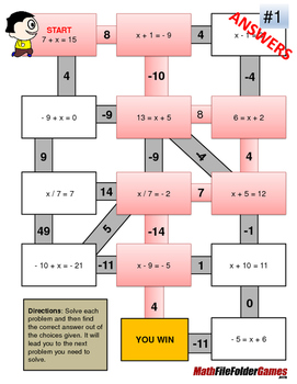 One-step Equations - Algebra  Mazes/Worksheets