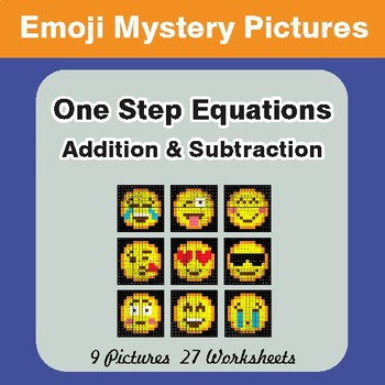 One-Step Equations (Addition & Subtraction) EMOJI Math Mystery Pictures