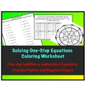 One-step Equations Coloring Worksheet ( Add/Sub with Pos/N