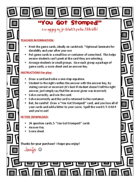 One-step Equations (+/-) - You Got Stomped Math Game