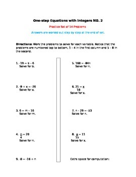 One-step Equations with Integers NO. 2 - Practice Set of 14 Problems