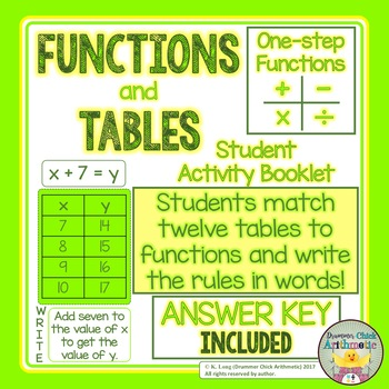 One-step Functions and Tables Matching Activity