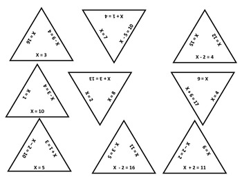 One-step Linear Equations Puzzling Pyramids Game