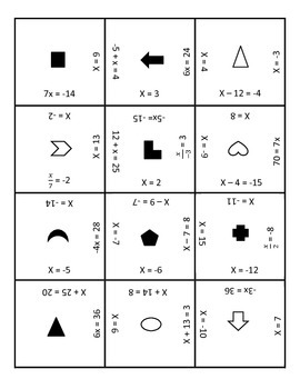 One step equation puzzle