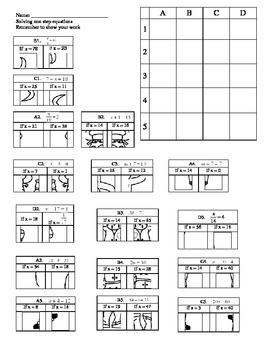 One step equation puzzle worksheet