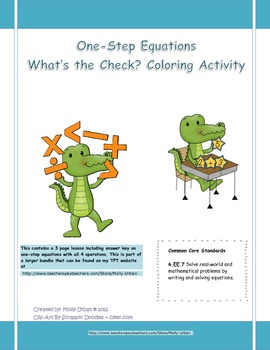 One-step equations Coloring Activity CCS WHAT'S THE CHECK?