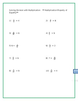 One step equations- Multiplication and Division