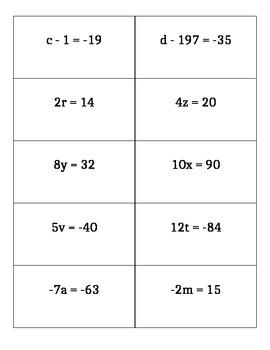 One step equations Quiz Quiz Trade Cards