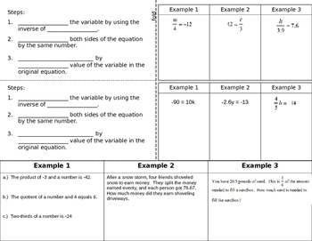 One step equations foldable muliplying and dividing with fractions and decimals