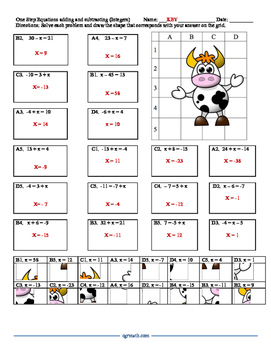 One step equations puzzle worksheet with integers